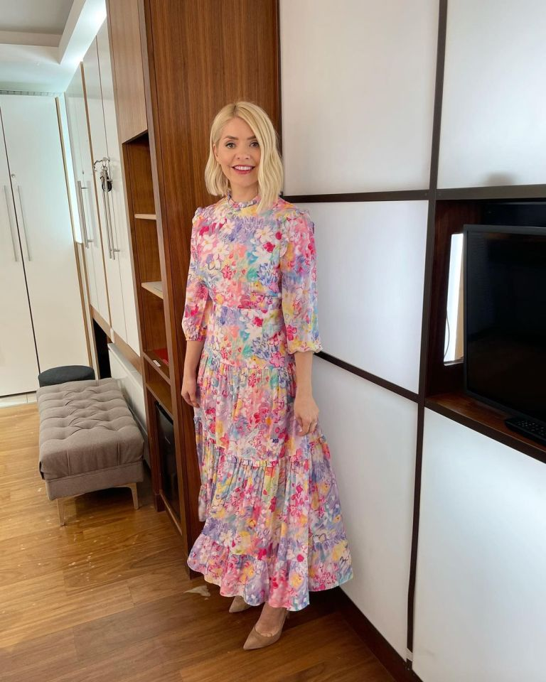 where to get all Holly Willoughby This Morning dresses bright floral tiered midaxi dress nude suede court shoes 29 March 2021 Photo Holly Willoughby