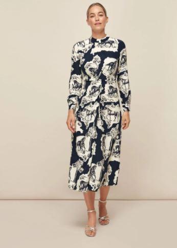 Whistles Stallion Print Silk Dress