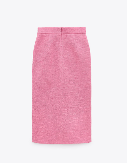Zara Textured Skirt With Buttons back view