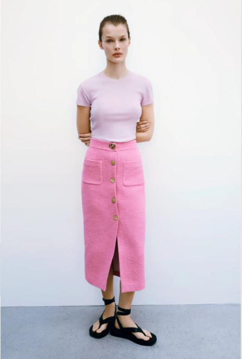 Zara Textured Skirt With Buttons