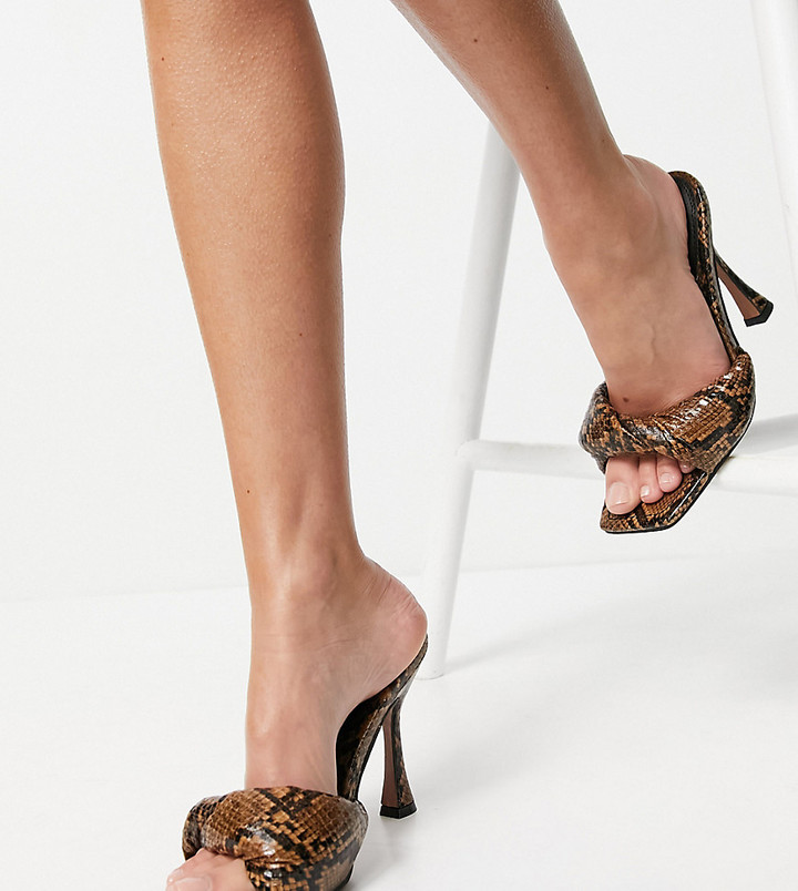 ASOS DESIGN Wide Fit Niki padded twist high heeled mules