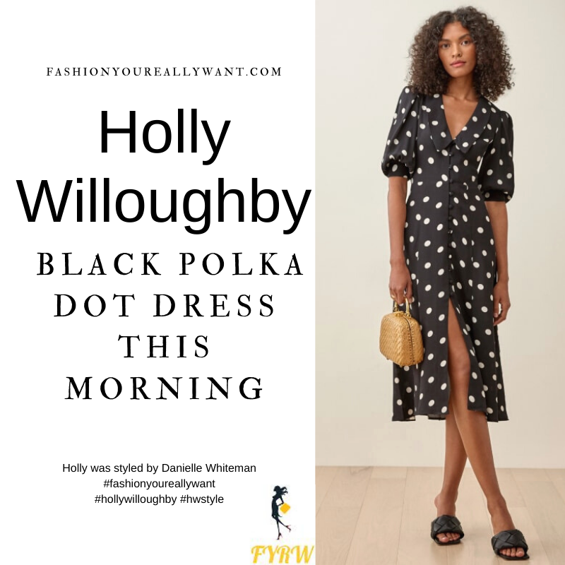 Where to get all Holly Willoughby This Morning outfits blog April 2021 black and white polka dot dress with collar patent leather Mary Jane shoes