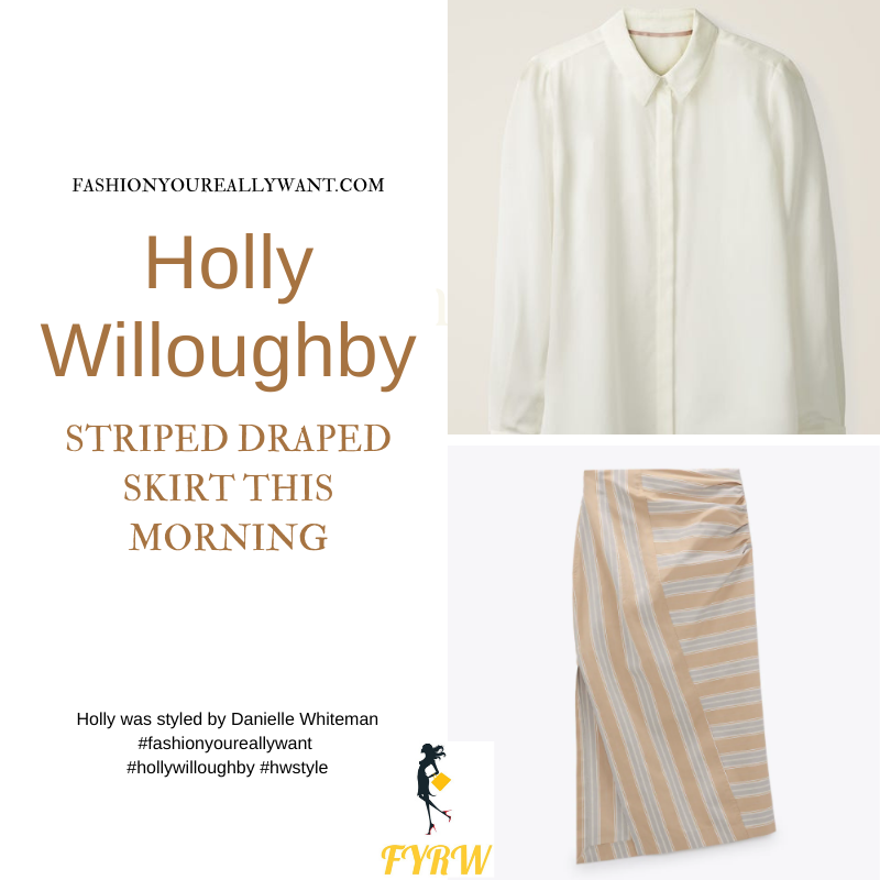 Where to get all Holly Willoughby This Morning outfits blog April 2021 ivory blouse yellow camel and white striped midi skirt nude suede court shoes