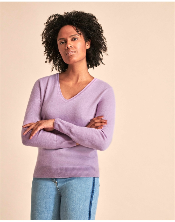 Pure Collection Cashmere V Neck Sweater Lilac
