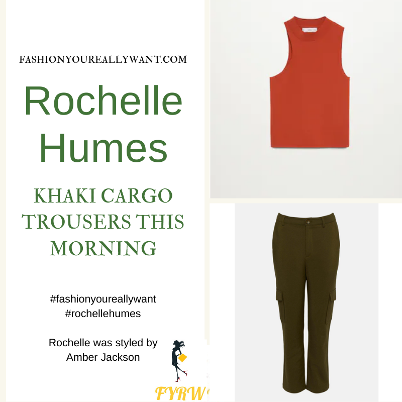 Where to get all Rochelle Humes This Morning outfits blog April 2021 khaki cargo pants orange high neck sleeveless top plaited woven brown mules