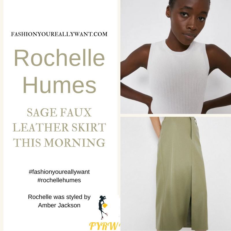 Where to get all Rochelle Humes This Morning outfits blog April 2021 faux leather green midi skirt white ribbed vest beige knotted mules
