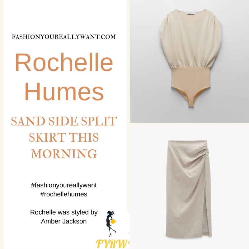 Where to get all Rochelle Humes This Morning outfits blog April 2021 sand side split pencil skirt cream ruched top brown snakeskin mules