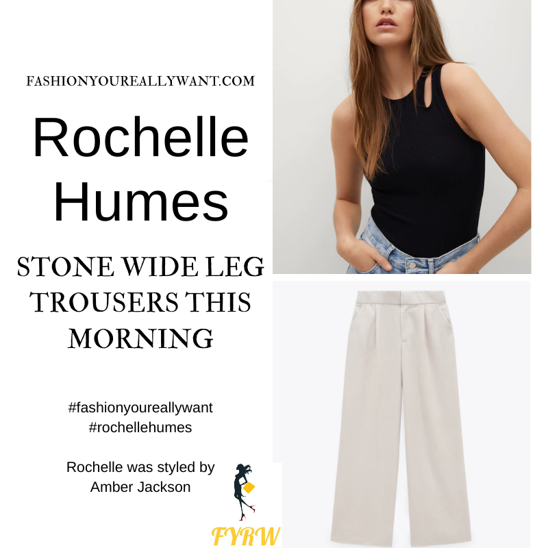 Where to get all Rochelle Humes This Morning outfits blog April 2021 stone wide leg trousers cut out black sleeveless top white woven double strap mules