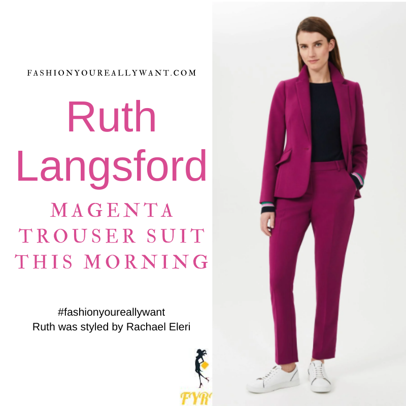 Where to get all Ruth Langsford This Morning outfits blog April 2021 magenta trouser suit beige knitwear leopard print court shoes