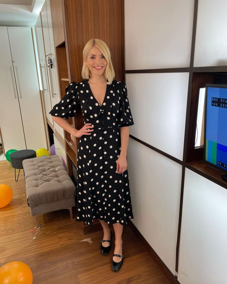 where to get all Holly Willoughby This Morning dresses black and white polka dot v neck dress black MAry Jane shoes 1 April 2021 Photo Holly Willoughby