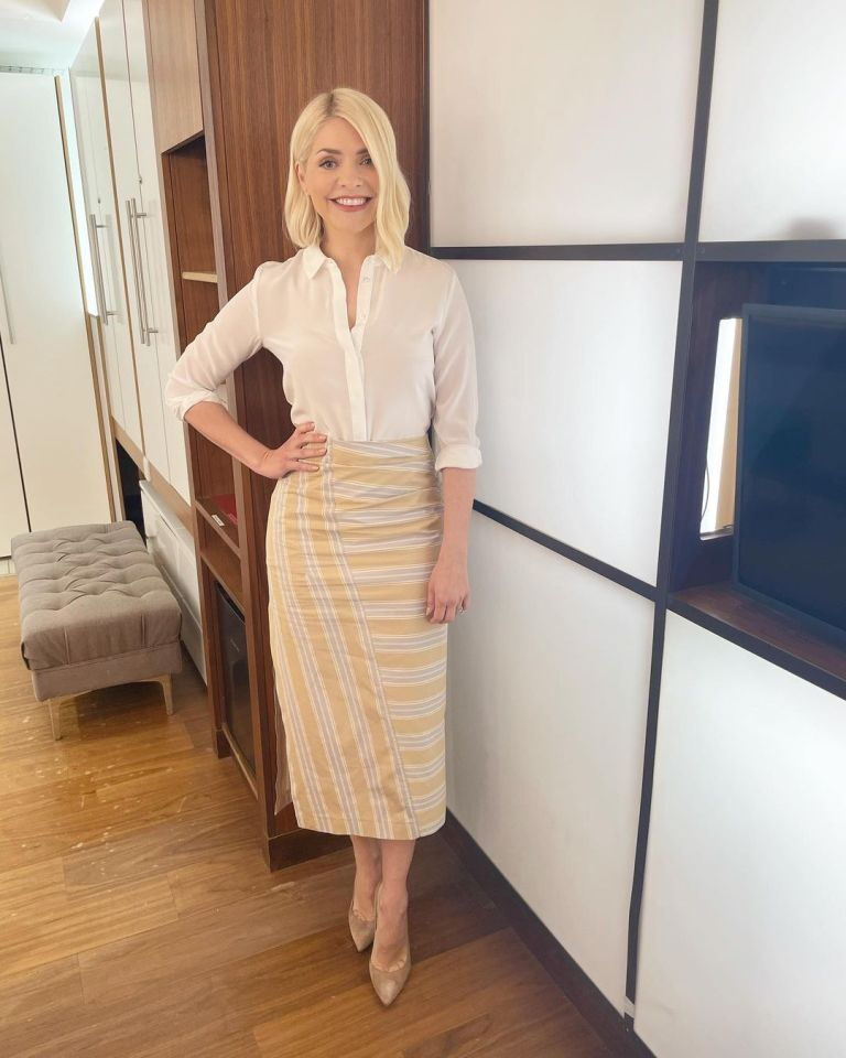 where to get all Holly Willoughby This Morning outfits yellow white striped midi slirt cream blouse nuded suede court shoes 29 April 2021 Photo Holly Willoughby