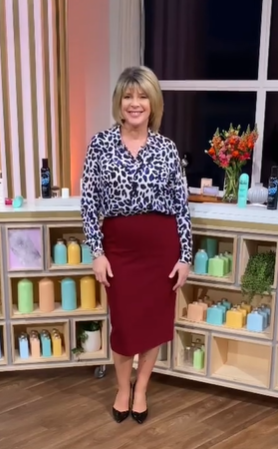 where to get all Ruth Langsford This Morning outfits black and blue leopard print blouse red pencil skirt black court shoes 7 April 2021 Photo Ruth Langsford