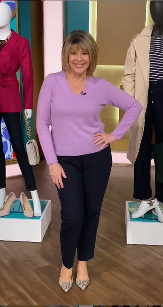 where to get all Ruth Langsford This Morning outfits lilac v neck sweater navy trousers snakeskin court shoes 6 April 2021 Photo Ruth Langsford