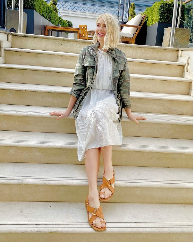 where to get holly willoughby white lace trim dress camouflage jacket tan sandals 12 April 2021 Photo M&S