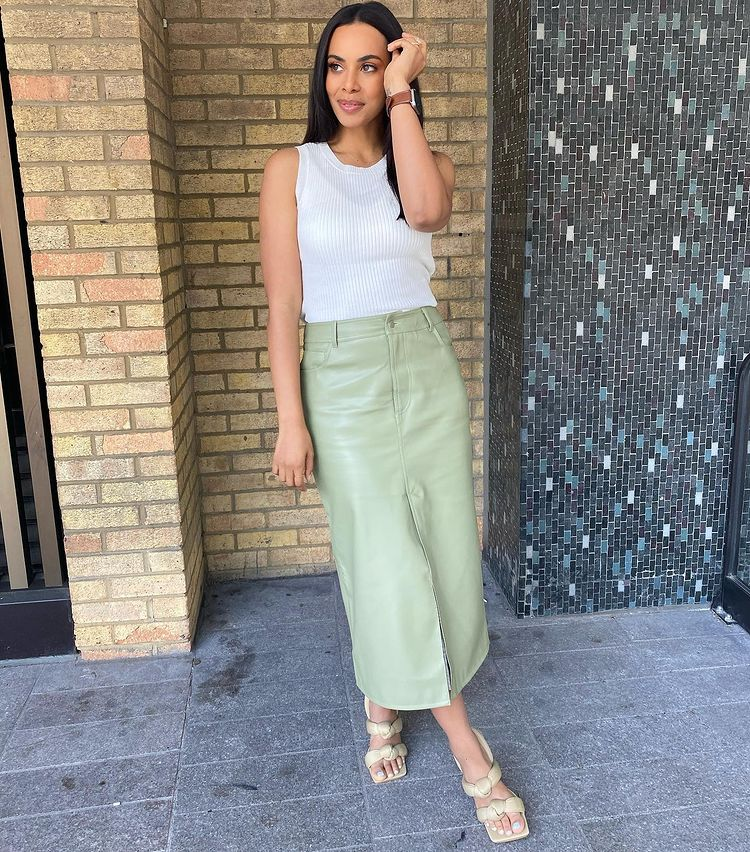 where to get Rochelle Humes This Morning green faux leather midi skirt ribbed top knotted sandals 20 April 2021 Photo Rochelle Humes