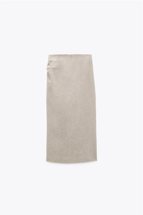 Zara Linen Blend Draped Skirt back view