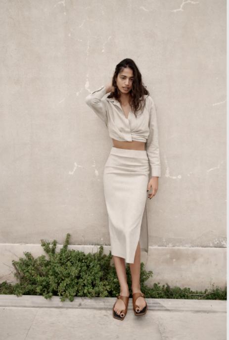 Zara Linen Blend Draped Skirt