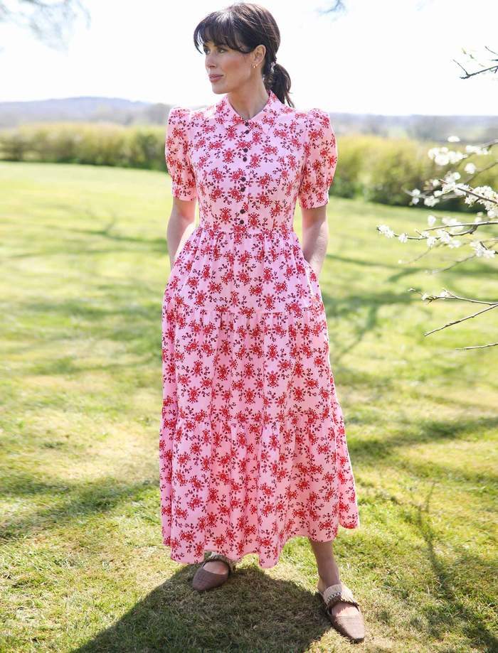 CefinnPoppy Tiered Gathered Maxi Shirt Dress with Short Sleeves