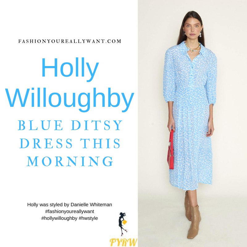 Where to get all Holly Willoughby This Morning outfits blog May 2021 blue and white floral ditsy midi dress nude suede court shoes