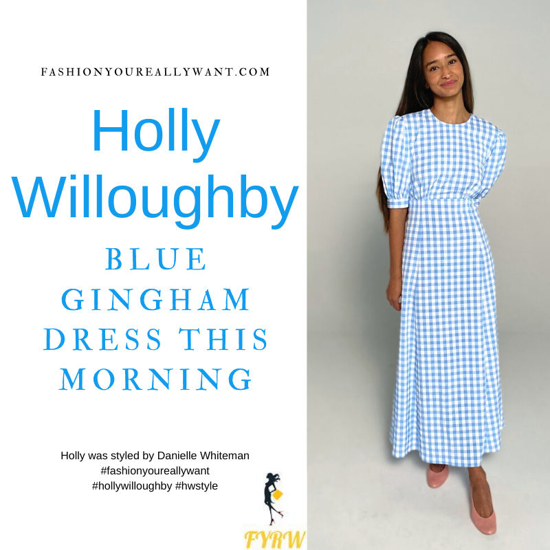 Where to get all Holly Willoughby This Morning outfits blog May 2021 blue and white gingham seersucker midi dress nude suede court shoes