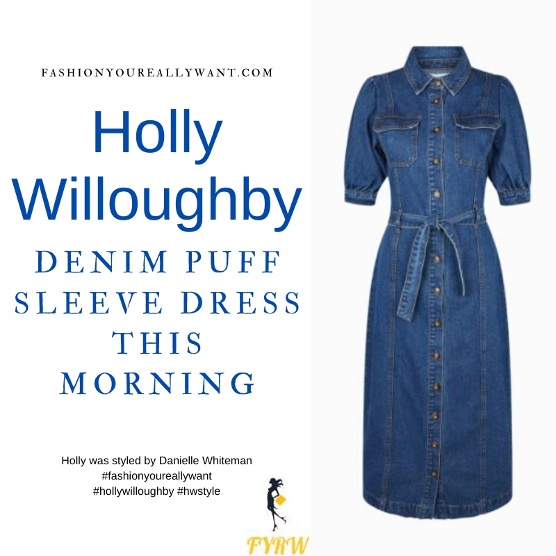 Where to get all Holly Willoughby This Morning outfits blog May 2021 denim puff sleeve midi dress nude suede court shoes