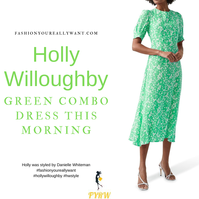 Where to get all Holly Willoughby This Morning outfits blog May 2021 green and white floral mid sleeve midi dress nude suede court shoes