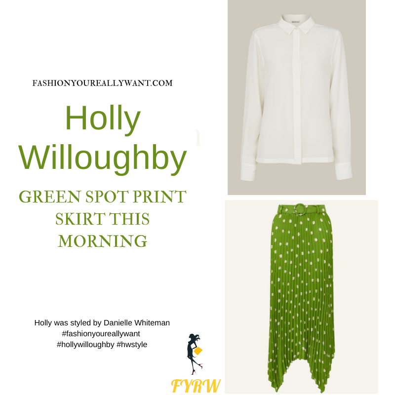 Where to get all Holly Willoughby This Morning outfits blog May 2021 green spot print pleated skirt cream blouse nude suede court shoes