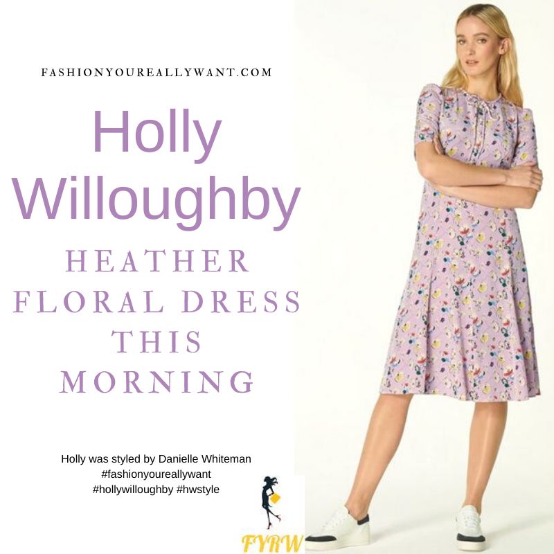 Where to get all Holly Willoughby This Morning outfits blog May 2021 lilac heather floral print midi tea dress nude suede court shoes