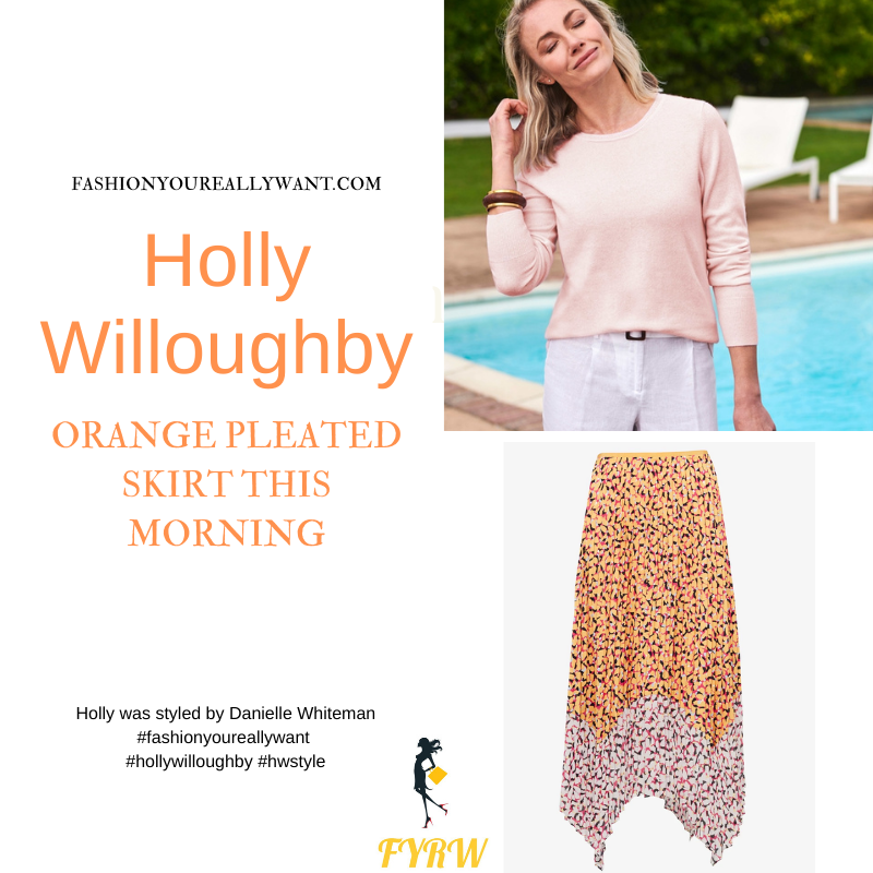 Where to get all Holly Willoughby This Morning outfits blog May 2021 ornage and pink printed pleated asymmetric skirt pink knit nude suede court shoes