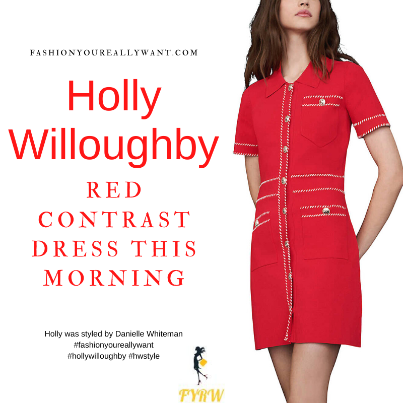 Where to get all Holly Willoughby This Morning dresses blog May 2021 red knit mini dress gold buttons white trim black suede court shoes