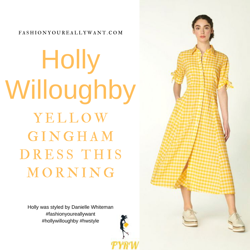 Where to get all Holly Willoughby This Morning outfits blog May 2021 yellow gingham midi dress tan beige suede sandals