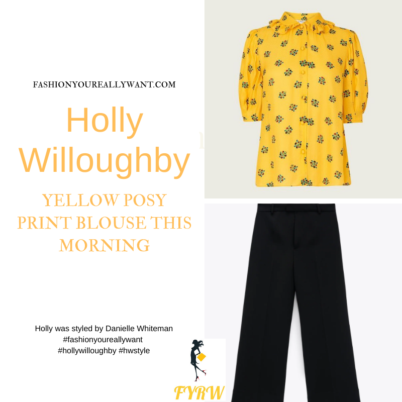 Where to get all Holly Willoughby This Morning outfits blog May 2021 yellow short sleeve floral blouse black culottes black suede court shoes