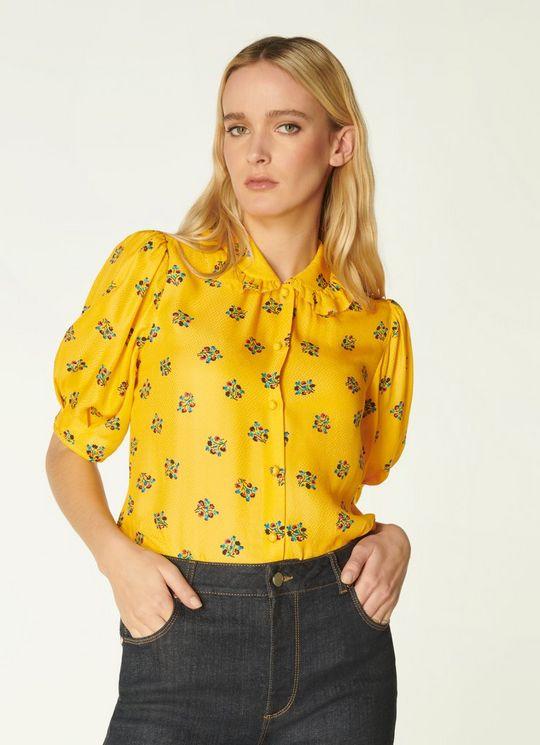 LK Bennett Elson Yellow Posey Print Silk-blend Blouse