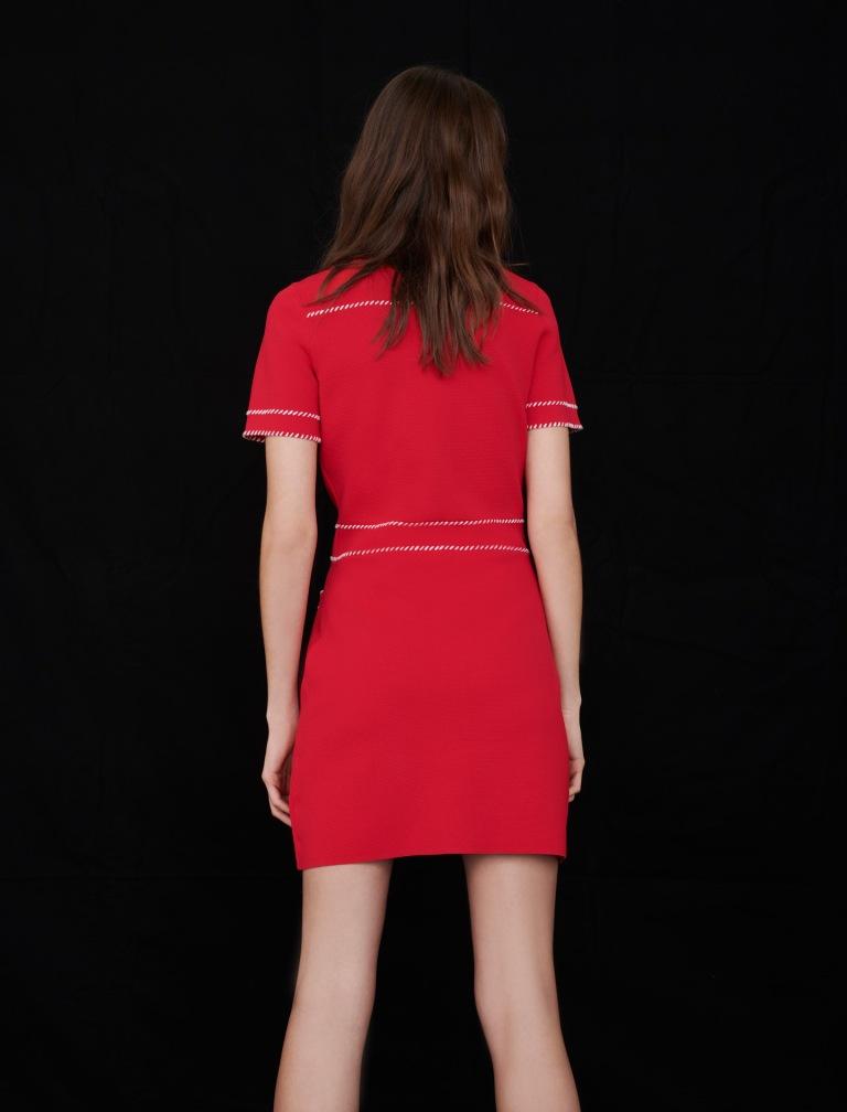 Maje Contrast Knit Dress back view