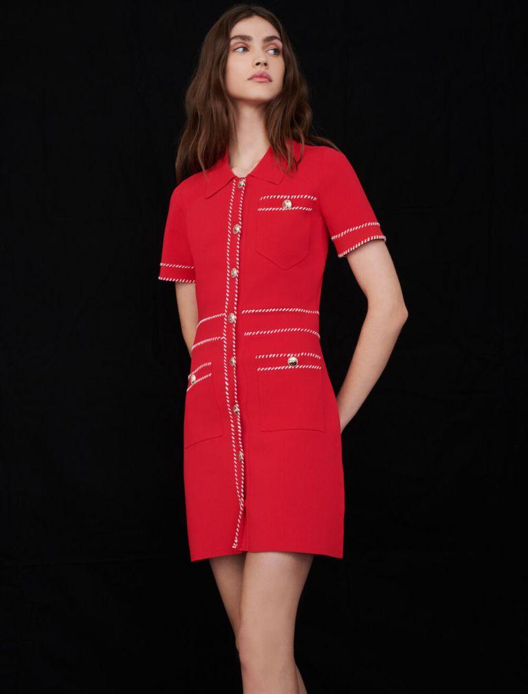 Maje Contrast Knit Dress