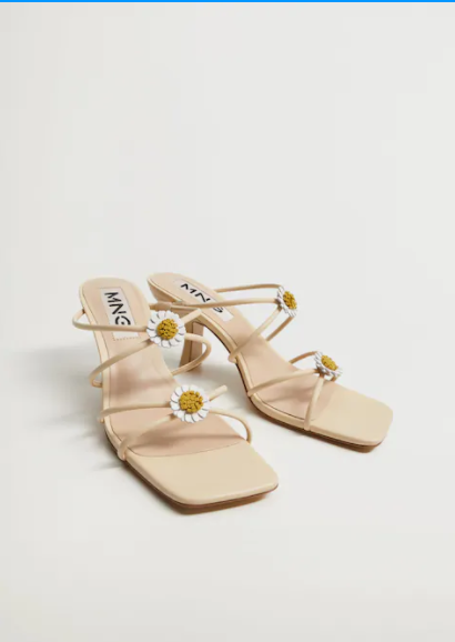 Mango Flowered Heel Leather Sandals
