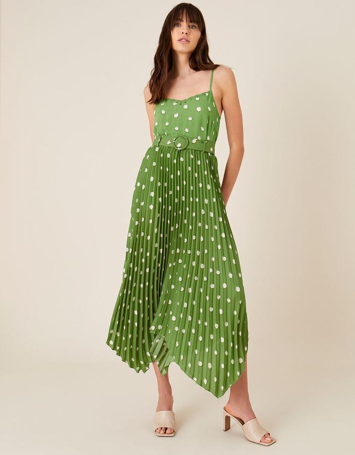 Monsoon Spot Print Pleated Midi Skirt Green