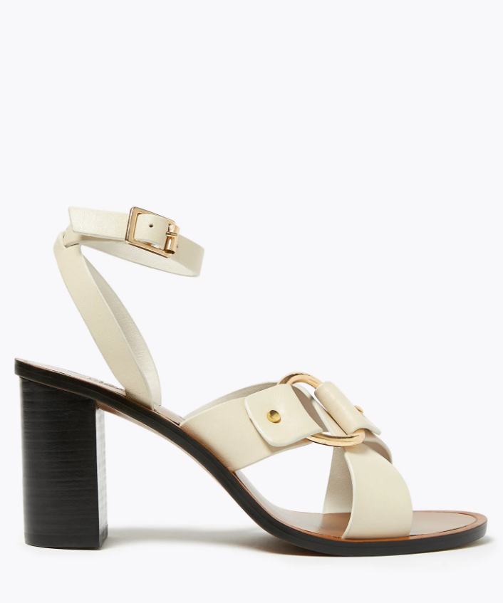 M&S Leather Ring Detail Block Heel Sandals