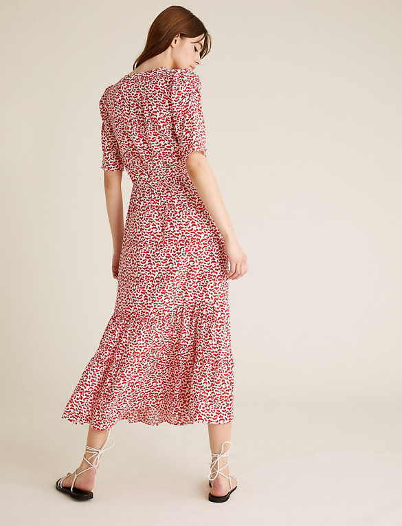 M&S Printed Tie Neck Midi Waisted Dress back view