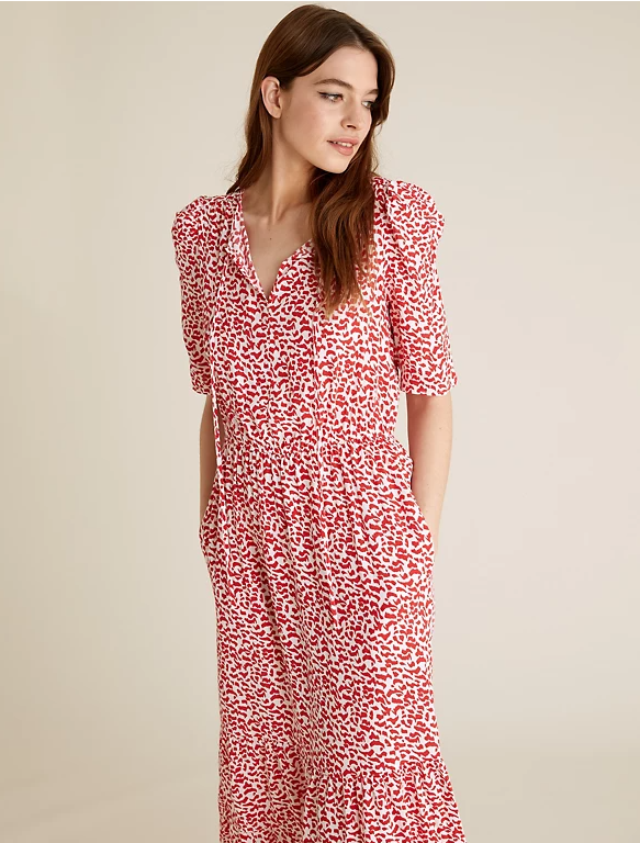 M&S Printed Tie Neck Midi Waisted Dress