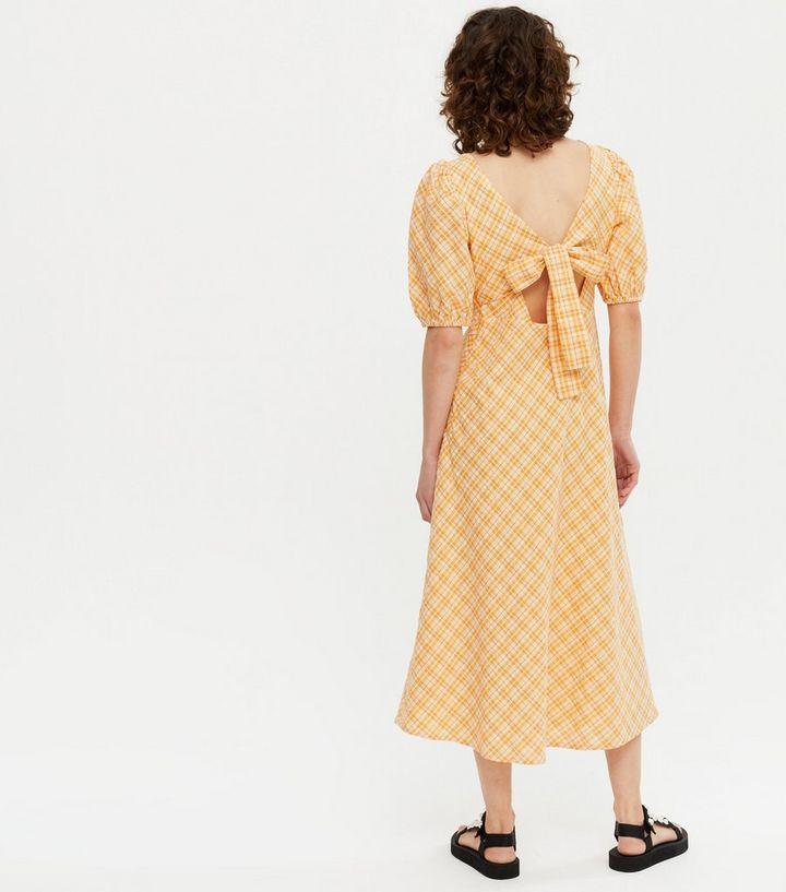 New LookOrange Check Puff Sleeve Midi Tea Dress back view