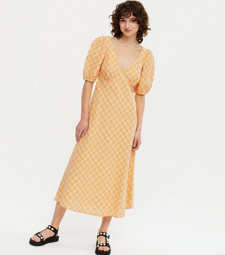 New LookOrange Check Puff Sleeve Midi Tea Dress