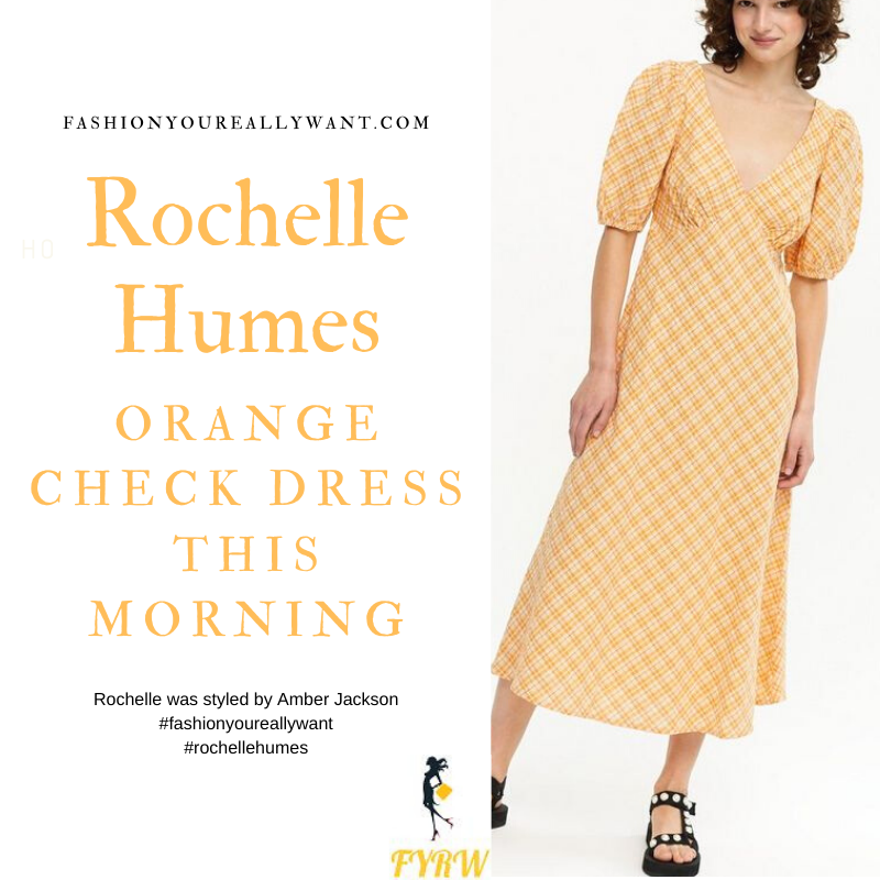 Where to get all Rochelle Humes This Morning outfits blog May 2021 yellow orange check midi tea dress daisy sandals