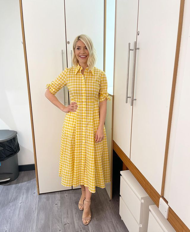 where to get all Holly Willoughby this Morning dreses yellow gingham midi dress tan suede sandals 10 May 2021 Photo Holly Willoughby