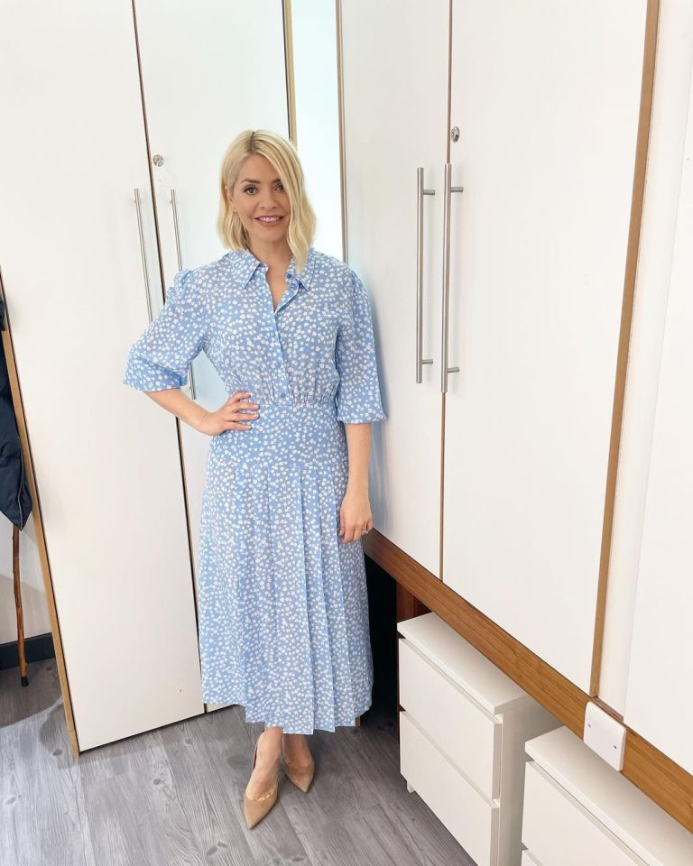 where to get all Holly Willoughby This Morning dresses blue ditsy floral dress nude suede court shoes 4 May 2021 Photo Holly Willoughby