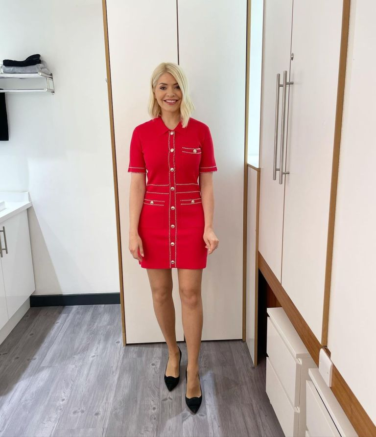 where to get all Holly Willoughby This Morning dresses red mini dress white trim black court shoes 13 May 2021 Photo Holly Willoughby