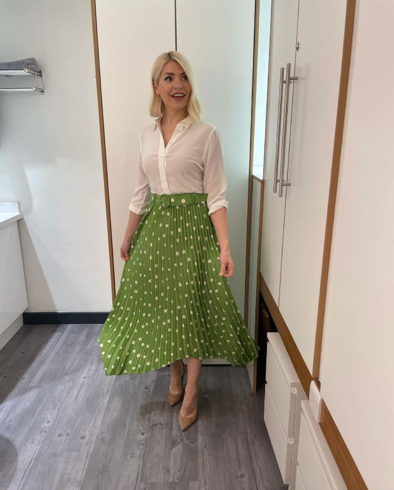 where to get all Holly Willoughby This Morning outfits green spot print pleated skirt ivory blouse nude suede court shoes 25 May 2021 Photo Holly Willoughby