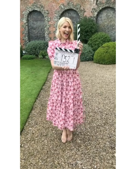 where to get Holly Willoughby pink poppy dress Midsomer Murders 28 May 2021 Photo Holly Willougby