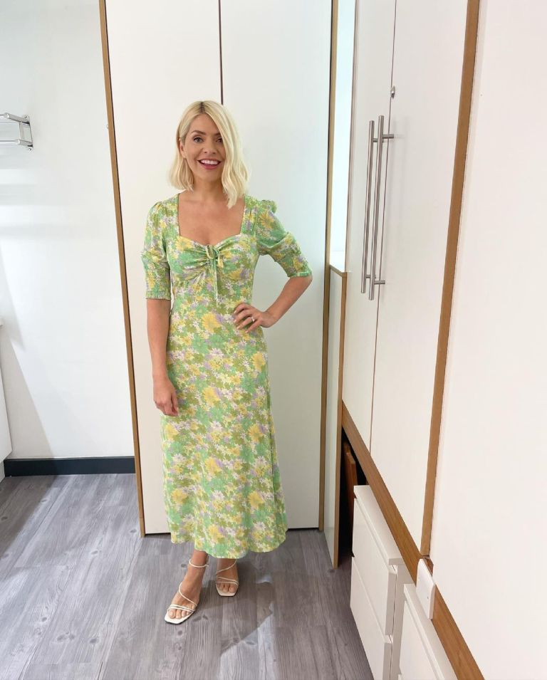 where to get ll holly Willoughby This Morning dresses sweetheart neck green daisy midi dress white wedges 9 Jne 2021 Photo Holly Willoughby