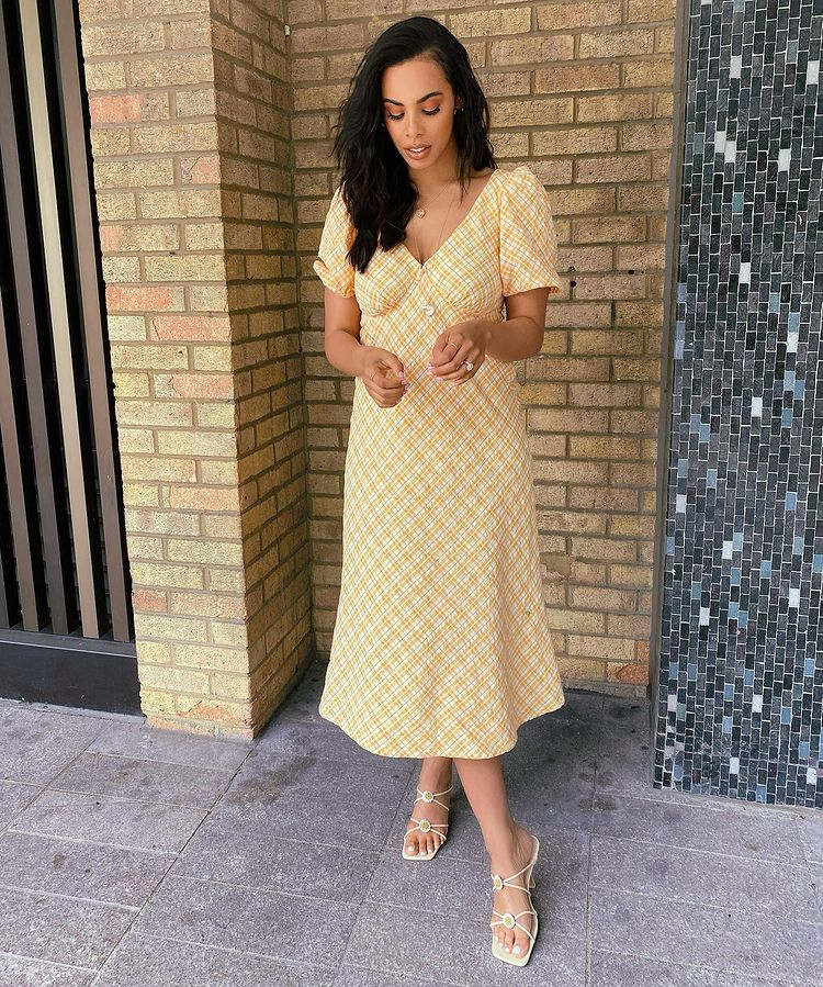where to get Rochelle Humes this Morning Orange check dress dailsy sandals 3 May 2021 Photo Rochelle Humes